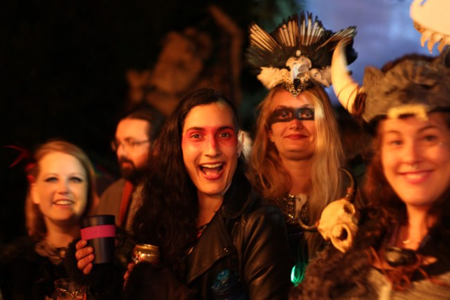 Revellers at the Swordpunk Fire Circle
